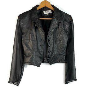 Firenze Vintage Black Sheer Leather Crop Jacket